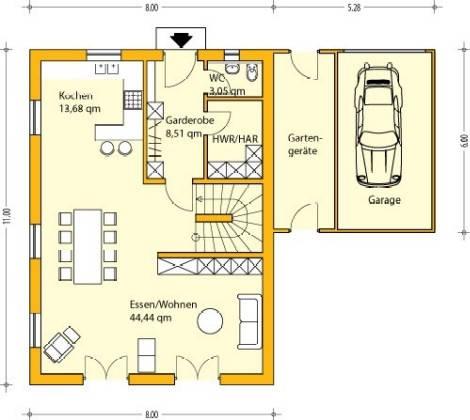 Grundriss einfamilienhaus mit garage  Weißeritz Massivhaus GmbH