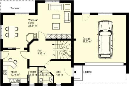 Einfamilienhaus grundriss mit garage  Weißeritz Massivhaus GmbH