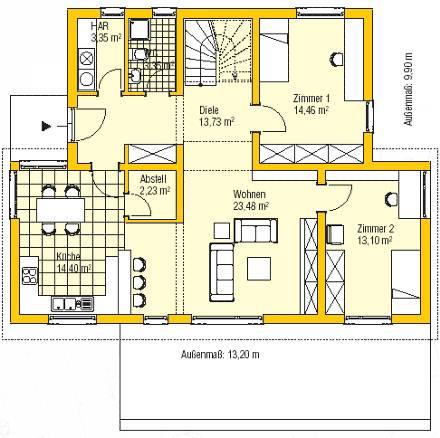 Schnittzeichnung Haus weißeritz massivhaus gmbh